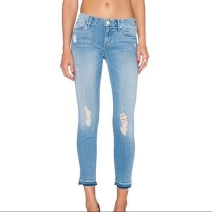 Mother Undone Hem Looker Crop Jeans Cliffhanger